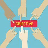 Team Hand Press Business Objective Botton. Vector, Eps10