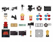 a set of colored cinema related elements on a white background