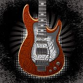 Banner With Electric Guitar On Black Background