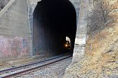 Train Enters Tunnel