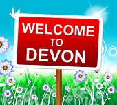 stock photo of devonshire  - Welcome To Devon Representing West Country And Hello - JPG