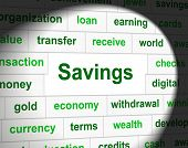 Savings Saved Means Monetary Cash And Wealthy
