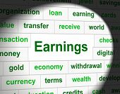 Earnings Revenue Indicates Wage Incomes And Employed