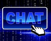 Chat Button Means World Wide Web And Telephone