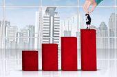 Hand Put Businesswoman On Chart