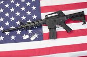 Us Army Carbine With Blank Dog Tags On Us Flag