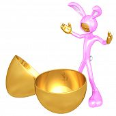 Easter Bunny With Empty Gold Easter Egg