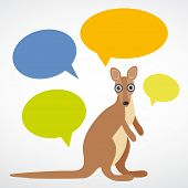 Funny Kangaroo With Colorful Speech Bubbles On White Background. Vector