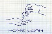 Real Estate Market,  Hands Giving House Key