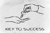 Unlock Your Potential, Hands Holding Metaphor Key To Success