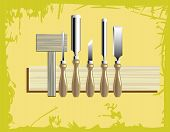 pic of woodcarving  - a woodcarving tool kit with wooden hammer - JPG