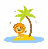 Lion Under The Palm