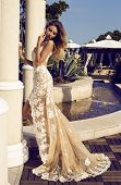 Beautiful Woman In Luxorious Lace Dress Posing At Park