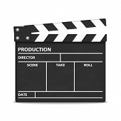stock photo of clapper board  - Clapper board on white background - JPG