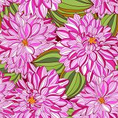 Seamless Pattern With Decorative Dahlia And Leaves