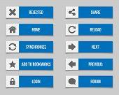Flat Blue Buttons Set 2