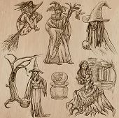 Halloween, Witches And Wizards - Hand Drawn Vector Pack