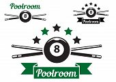 stock photo of snooker  - Billiard or snooker poolroom design for sports - JPG