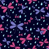 Seamless Pattern Dragonflies On A Dark Background