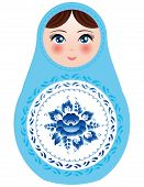 Russian Nesting Dolls On A White Background With Blue Flowers. Vector