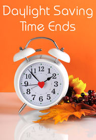 pic of time-saving  - Daylight savings time ends in autumn fall with clock concept and text message on orange background - JPG