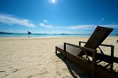 pic of recliner  - Beach view with recliner in Boracay Island in the Philippines - JPG