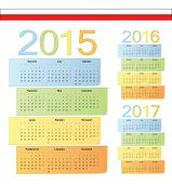 Set Of Polish 2015, 2016, 2017 Color Vector Calendars