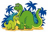 foto of apatosaurus  - Cartoon dinosaur family with palms  - JPG