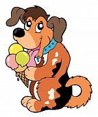 Cartoon dog eating ice cream