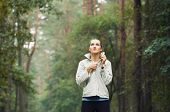 Healthy Lifestyle Fitness Sporty Woman Running Early In The Morning In Forest