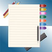 Notepad And Pencils Vector Illustration