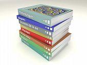 Multi-colored french school books stack