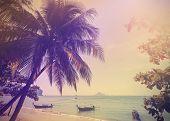 Vintage Stylized Photo Of Andaman Sea Coast, Aonang In Thailand.
