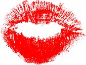 illustration with red lips imprint from dots isolated on white background
