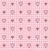 Red grungy hearts on checkered grungy pink and white background, a seamless Valentine's pattern