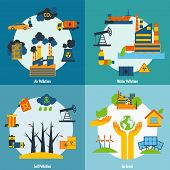 stock photo of water pollution  - Ecology design concept set with air water and soil pollution flat icons isolated vector illustration - JPG