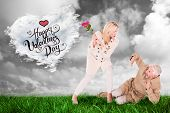 Angry woman attacking partner with rose bouquet against cloud heart