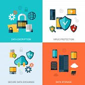 foto of social-security  - Data protection set with encryption secure exchange storage flat icons isolated vector illustration - JPG