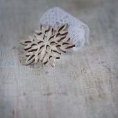 Light Wooden Carved Snowflake And Lace