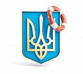 foto of armorial-bearings  - emblem of ukraine lifebuoy on a white background - JPG