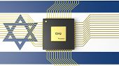 stock photo of microprocessor  - Computer CPU with flag of Israel background - JPG