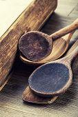 Wooden kitchen utensils on the table.