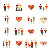 image of gay wedding  - Nontraditional homosexual lesbians partners and gays couples wedding and parenting flat icons set abstract isolated vector illustrations - JPG