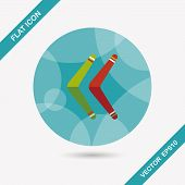 pic of boomerang  - Boomerang Flat Icon With Long Shadow - JPG