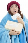 stock photo of tissue box  - Sick flu woman sneezing and feeling cold - JPG