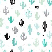Seamless soft mint and blue cactus forest illustration background pattern in vector