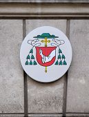 GRAZ, AUSTRIA - JANUARY 10, 2015: Coat of arms of Egon Kapellari Bishop of Graz-Seckau in Graz, Styria, Austria on January 10, 2015.