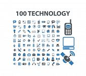 100 technology, communication, gadget concept flat isolated icons, signs, illustrations vector set on background