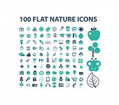 100 nature, ecology, environment, forest, biology flat isolated icons, signs, illustrations vector set on background