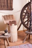 Vintage traditional spinning wheel